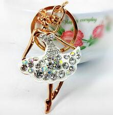 Ballet White Dancing Pendant Charm Crystal Purse HandBag Key Ring Keychain Gift