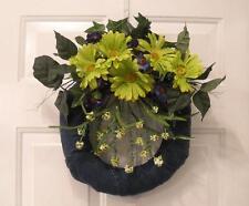 """REDUCED-Floral Wreath """" Green Jeans """"- Flower Arrangement  Wall/Door Centerpiece"""