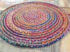 💜FAIR TRADE SHABBY CHIC COTTON JUTE BRAIDED MULTI COLOURED ROUND RAG RUG 60cm