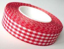 (1m=0,28€) KAROBAND 25m x 25mm rot - weiß VICHY kariert DEKOBAND Schleifenband