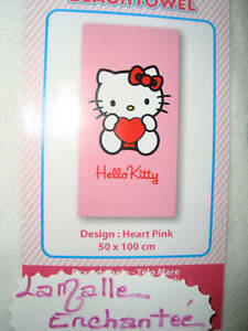 SERVIETTE DRAP DE BAIN PISCINE HELLO KITTY 50X100CM
