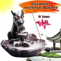 Dragon Waterfall Ceramic Smoke Backflow Incense Burner Censer Holder + 10