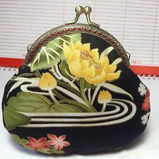 ASIAN ORIENTAL Lotus,Lily & bird MOTIF Handmade Kiss Lock Coin Purse #6