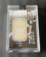 Tony Parker 2015 Spurs 999 Fine Silver 1 Troy Ounce /5 Finals MVP Super Rare 🔥