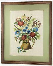 "Vintage Finished Crewel Flowers with Vase Wood Frame (NO Glass)17"" x 21"" JanLynn"