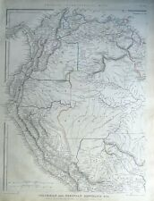 S.AMERICA, COLUMBIA,VENUZUELA,GUYANA,ECUADOR,SURINAME Sharpe antique map 1849