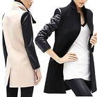 Fashion Women Long PU Leather Sleeve Jacket Slim Coat Parka Trench Windbreaker