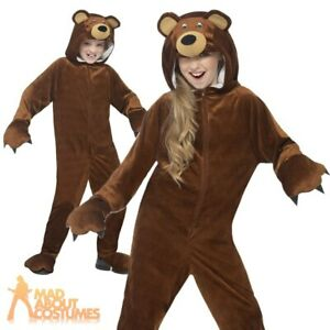 Childs Bear Jumpsuit Costume Boys Girls Book Week Day Kids Fancy Dress Outfit