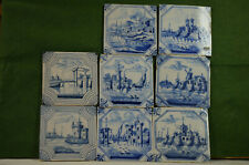 8 Delft antique blue & white tiles, 6 matching, other 2 match, early 19th cent.