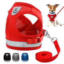 Small Dog Harness Leads Kit Reflective Mesh Pet Puppy Cat Vest Jack Russell S-XL
