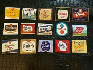 Lot of 16 Vintage unused Beer Bottle Labels (MISC-001) CHIEF - FOX - POINT etc
