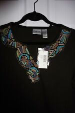 CHICO'S COTTON NWT 3/4 SLEEVE TEE FUDGE EMBROIDERED