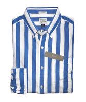 J Crew - Mens L - Classic Fit - NWT - Blue Cabana Striped Secret Wash Shirt