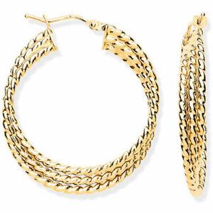 9ct Gold Large Triple Layer Ribbed Hoop Earrings  31.5mm -  UK Jewellers