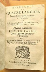 Elzevier Dialogues en quatre langues 1656 reliure vélin