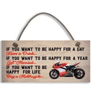 Motorcycle Funny Motorbike Man Cave Hanging Sign Garage Vintage Gift #1104