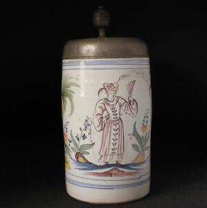 Antique Early German Faience Beer Stein Erfurt Thueringen Chinese Lady c.1790s