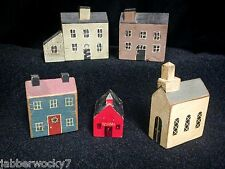 Lot of 5 - 3 Primitive Block Houses, 1 Church, 1 School, Signed Various Artists