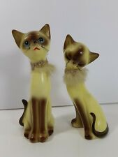 2 Tall Mini Siamese Cats Ceramic with Fur Collar Kitty Figurines Approx. 7""