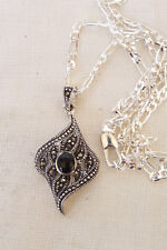 Vintage Art Deco Style 925 Sterling Silver Marcasite & Onyx Curled Leaf Pendant