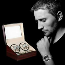 Watch Winder Display Box Automatic Rotation Storage 4+6 Grids Wooden 10 Watches