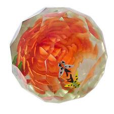 Paperweight Glas Briefbeschwerer Blumen Böhmen facettiert Rot czech glass flower