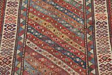 Pre-1900 Antique Vegetable Dye Kazak Caucasian Russian Oriental Runner Rug 4'x8'