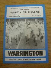 23/08/1974 programma Rugby League: Warrington V St. Helens (piegato, squadra delle modifiche,