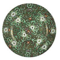 """Vintage Japanese Porcelain Ware Plate 10"""" Floral Hong Kong Green Gold"""
