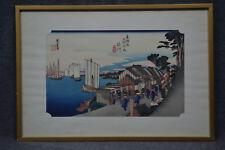 Holzschnitt, Utagawa Hiroshige, 1797 - 1858, Häuser am Fluß, Japan