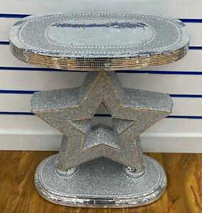 Diamond crush mirrored crush crystal ceramic console table Side white sparkly