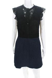 Reiss Womens Lace Zip Up Knee Length Shift Dress Black Size 6