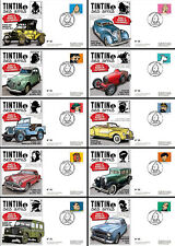 "Série 10 FDC ""TINTIN et ses Amis - VOITURE / FORD T, JEEP WILLYS & BUGATTI"" 2014"