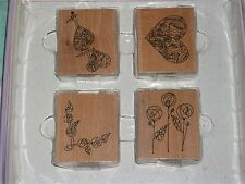 CREATE AND CRAFT RUBBER STAMP SET MACINTOSH ROSE HEARTS 70 x 60mm WOOD &