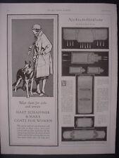 1922 German Shepherd w/ Woman Hart Schaffner Max Coats Vintage Print Ad 12067