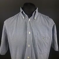 Lacoste Mens Shirt 42 (LARGE) Short Sleeve Blue Regular Fit Check Cotton