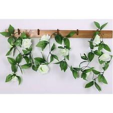 New 8Ft Fake Rose Garland Silk Flower Rattan Vine Ivy Home Garden Decor White ML