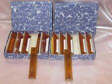 12 porte couteaux anciens en verre Art Déco couleur ambre