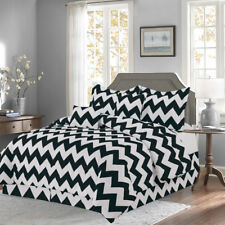 Black 10 Piece Bed In a Bag Chevron Comforter Set - Sheet Set Included -