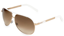 Gucci Aviator GG1827S Gold Metal White Enamel Sunglasses Brown Gradient 1827