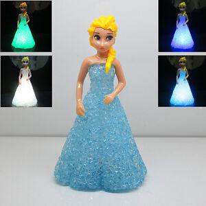 Fun Disney Frozen Princess Figures Doll Color Changing Night Light Kids Girl Toy