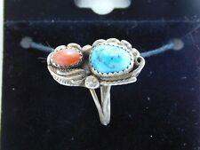 .925 Sterling Silver Native Turquoise & Coral Feather Ring LA0614