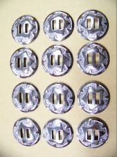 Quantity of 12 Slotted Silver Leather Craft Saddle Conchos 1-1/4 Inch Diameter
