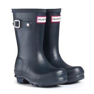 Hunter Original Kids Neoprene Wellington Boots Navy Girls Boys Wellies Size UK 7