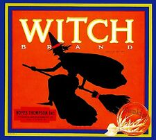 Highland Witch Halloween Orange Citrus Fruit Crate Label Vintage Art Print