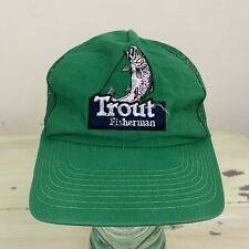 Trout Fisherman - Vtg 80s Green Fishing SnapBack Mesh Trucker Hat Dad Cap