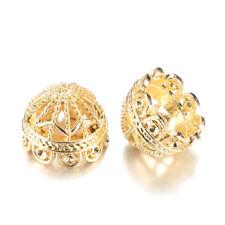 10pcs Light Gold Alloy Filigree Bead Caps Round Apetalous Tassel Cord Ends 12mm