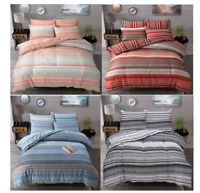 Ombre Striped Duvet cover With Pillowcases Polycotton Reversible Duvet Quilt Set