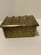 Antique Vintage Mid-Cen Brass Jewelry Trinket Box Religious Footed Hinged