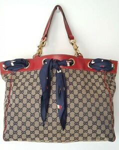 GUCCI Navy Monogram Positano Large Tote bag with Red Leather Trim & Silk Scarf